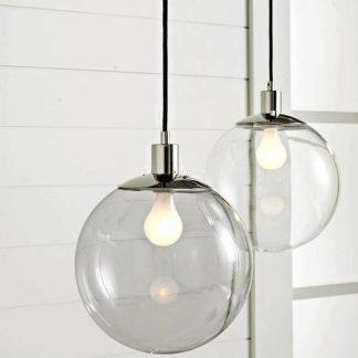 Aballach Modern Minimalist Clear Globe Glass Pendant Light