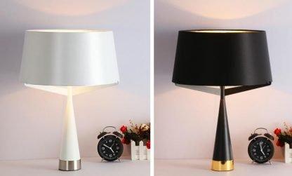 Kadmus Classic Designed Drum Shaped White Bedroom Table Lamp