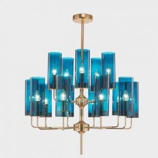 Padruig Elegant Sleek Vintage Blue Chandelier office lighting