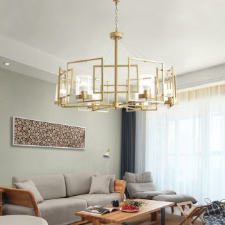 Rabhartach Modern Geometric Circle Squares Chandelier Light