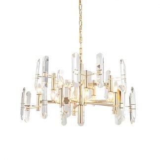 Ramsey Elegant Golden Base Clear Crystal Chandelier Light