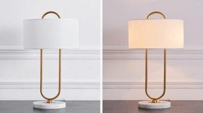 Aart Graceful Oversized Linen Drum Shaped Living Room Table Lamp