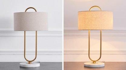 Aart Graceful Oversized Linen Drum Shaped Table Lamp Office workstation lights