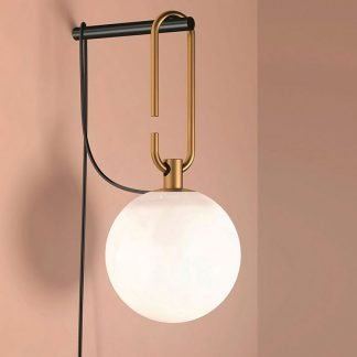 Baker Oval Hanger Frosted Glass Globe Wall Lamp