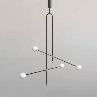 Daibheid Geometric Lined Globe Glass Pendant Light