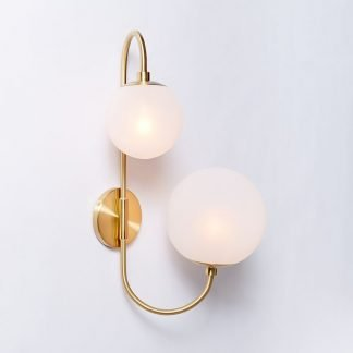Eacnung Elegant Frosted Glass Dual Ball Wall Lamp