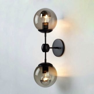 Fielding Industrial Chic Glass Globe Wall Lamp