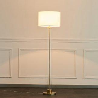 La-Reina Elegant Drum Shaped Metal Glass Body Floor Lamp