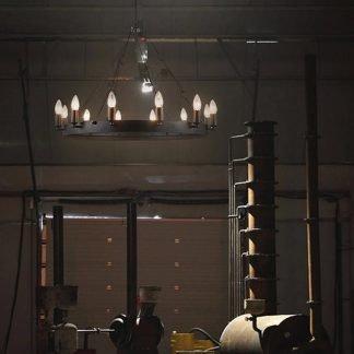 Lovette Industrial Rustic Fire Ring Chandelier Light
