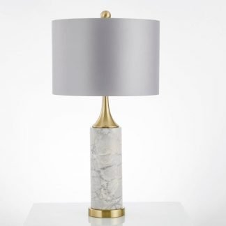 Mabbina Mid-Century Modern Marble Pillar Table Lamp