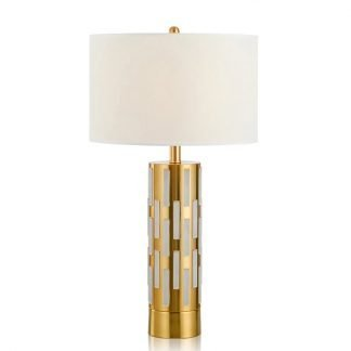 Oakley Contemporary Drum Shade Golden Pillar Table Lamp