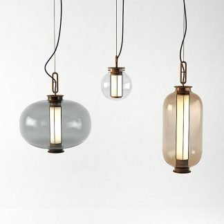 Sacha Antique Rustic Minimalist Glass Pendant Light