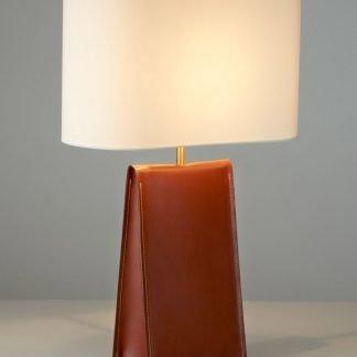 Vachel Modern Triangular Prism Leather Table Lamp