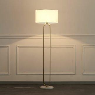 Wacleah Classic Drum Shaped Marble Base Golden Floor Lamp