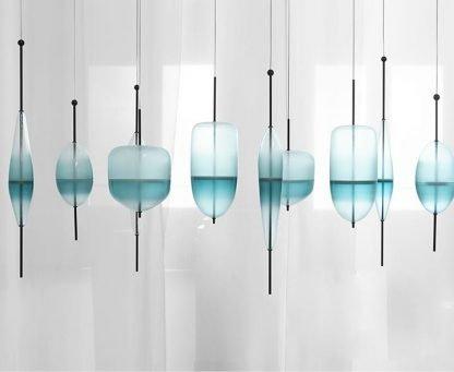 Art Deco Glass Industrial Pendant Light