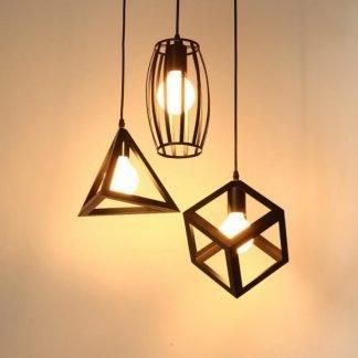 Edorta Minimalist Geometric Cage Pendant Light