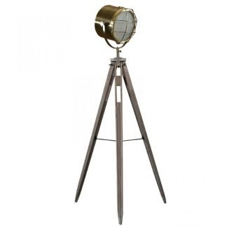 Shoney Wooden Tripod Spotlight Floor Lamp