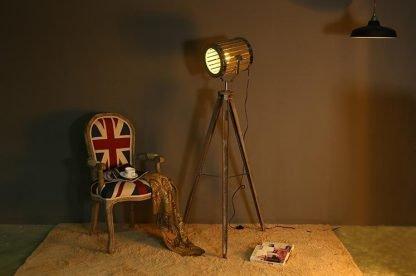 Wooden Barrel Tripod Bedroom Floor Lamp