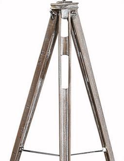 Wooden Barrel Tripod Hall Floor Lamp