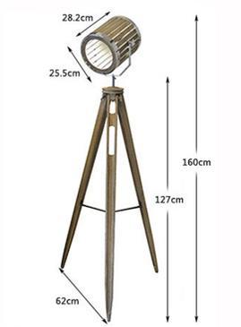 Wooden Barrel Tripod Industrial Floor Lamp