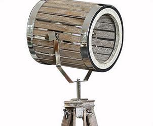 Wooden Barrel Tripod Restaurant Floor Lamp