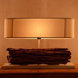 Acastus Contemporary Wooden Log Table Lamp